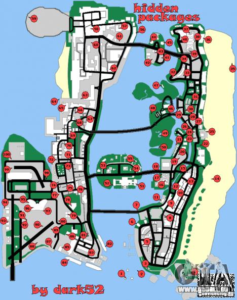 Carte des paquets cachés de GTA Vice City