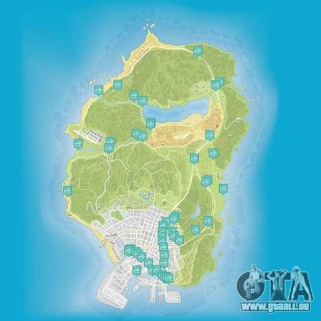 Karte von Flügen, die unter der Brücke in Grand Theft Auto 5