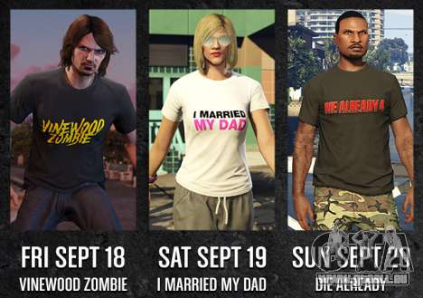 GTA en Ligne Freemode Événements du Week-end exclusif T-shirts