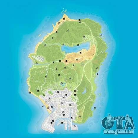 Karte der Banken auf GTA 5