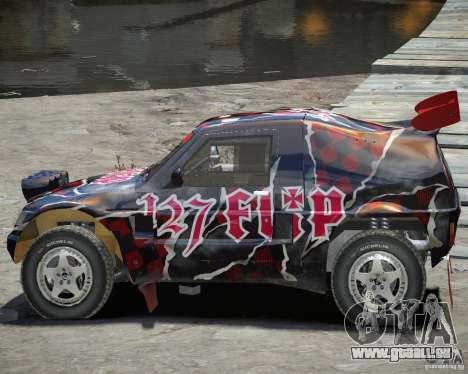 Mitsubishi Pajero Proto Dakar vinyle 3 pour GTA 4 est une vue de l'intérieur