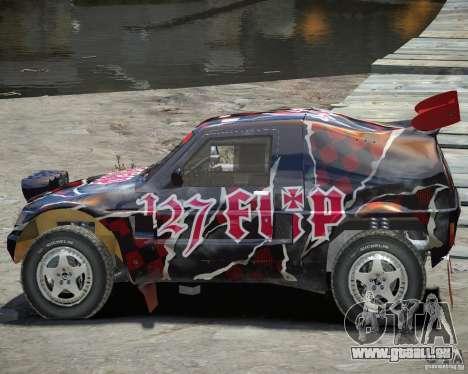 Mitsubishi Pajero Proto-Dakar Vinyl 3 für GTA 4 Innenansicht
