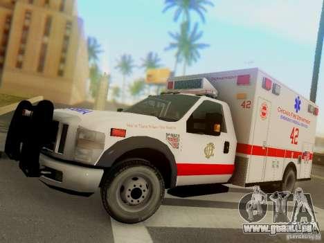 Ford F350 Super Duty Chicago Fire Department EMS pour GTA San Andreas laissé vue