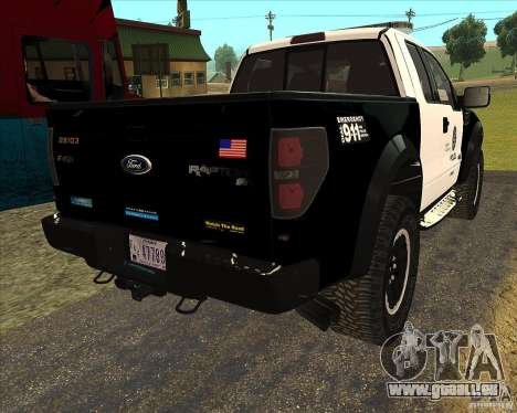Ford Raptor Police für GTA San Andreas Rückansicht