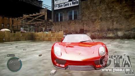 Porsche 918 Spyder Concept pour GTA 4 est une vue de l'intérieur