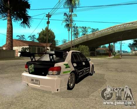 Subaru Impreza Elemental Attack pour GTA San Andreas sur la vue arrière gauche