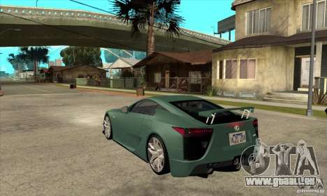 Lexus LFA 2010 pour GTA San Andreas sur la vue arrière gauche