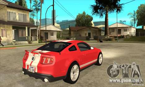 Ford Mustang Shelby GT500 2011 für GTA San Andreas Rückansicht