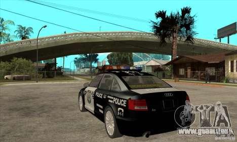 Audi A6 Police pour GTA San Andreas sur la vue arrière gauche