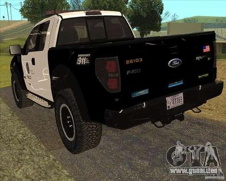 Ford Raptor Police für GTA San Andreas rechten Ansicht
