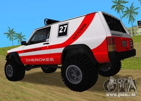 Jeep Cherokee 1984 Sandking pour GTA Vice City sur la vue arrière gauche