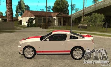 Ford Mustang Shelby GT500 2011 pour GTA San Andreas sur la vue arrière gauche