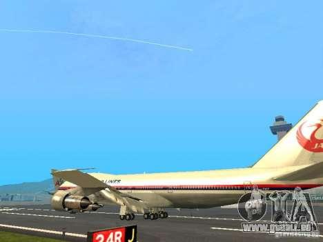 Boeing 747-100 Japan Airlines für GTA San Andreas zurück linke Ansicht
