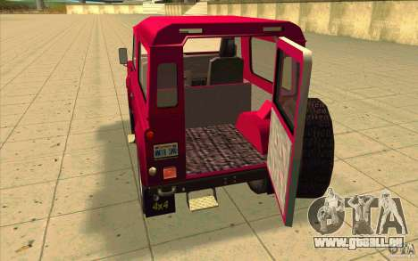 Land Rover Defender 90SW für GTA San Andreas Innenansicht