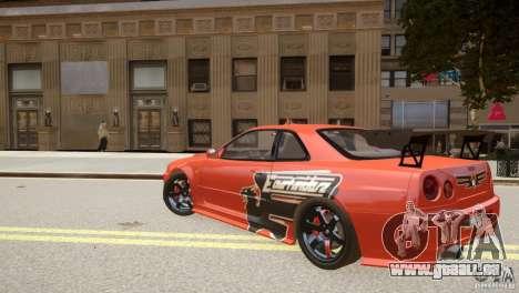 Nissan Skyline GT-R R34 Underground Style pour GTA 4 Vue arrière de la gauche