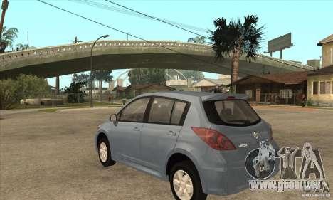 Nissan Tiida pour GTA San Andreas sur la vue arrière gauche