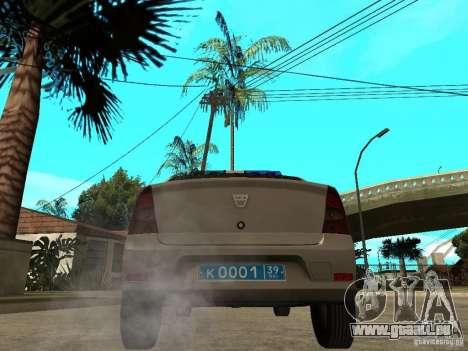 Dacia Logan Police für GTA San Andreas zurück linke Ansicht