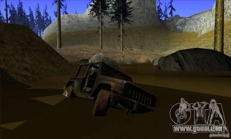 Jeep Wrangler pour GTA San Andreas vue de dessous