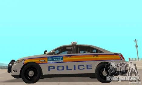 Ford Taurus 2011 Metropolitan Police Car pour GTA San Andreas sur la vue arrière gauche