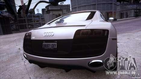 Audi R8 V10 pour GTA 4 est une vue de l'intérieur