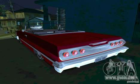 Chevrolet Impala 1963 Lowrider Charged für GTA San Andreas zurück linke Ansicht