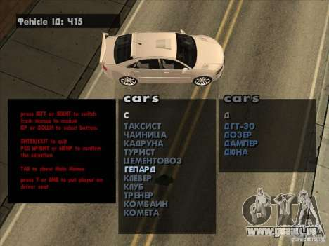 Fahrzeug-Spawner Premium-Spauner-Maschinen für GTA San Andreas dritten Screenshot