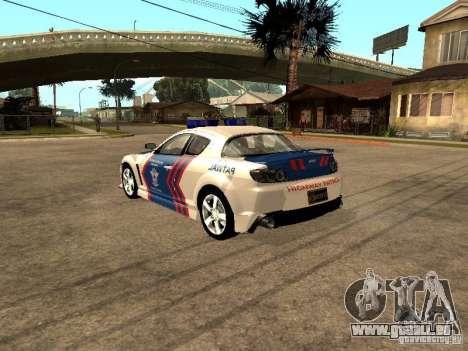 Mazda RX-8 Police pour GTA San Andreas vue de droite