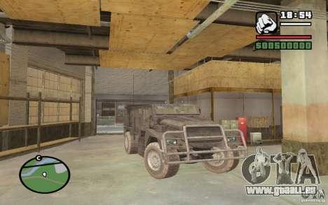 Camion militaire pour GTA San Andreas vue de droite