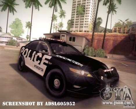 Ford Taurus Police Interceptor 2011 pour GTA San Andreas vue de dessus