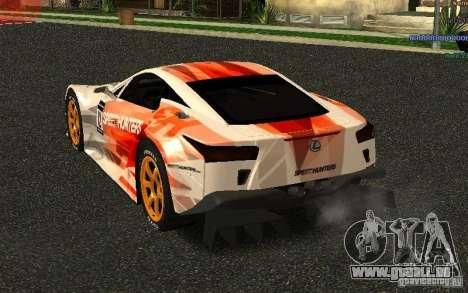 Lexus LFA Speedhunters Edition pour GTA San Andreas sur la vue arrière gauche