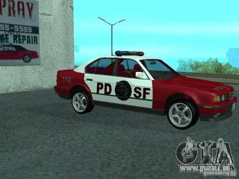 BMW 535i E34 Police pour GTA San Andreas sur la vue arrière gauche