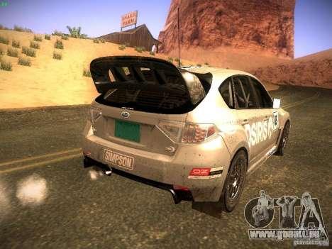 Subaru Impreza Gravel Rally pour GTA San Andreas vue intérieure