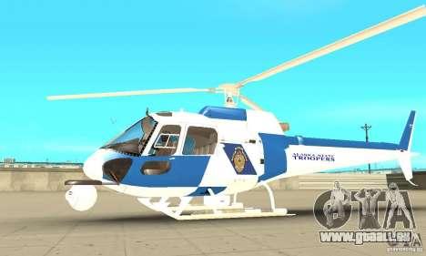 AS-350 Police pour GTA San Andreas sur la vue arrière gauche