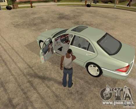 Mercedes-Benz S600 pour GTA San Andreas vue intérieure