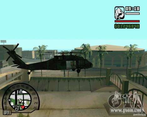 Blackhawk UH60 Heli pour GTA San Andreas sur la vue arrière gauche