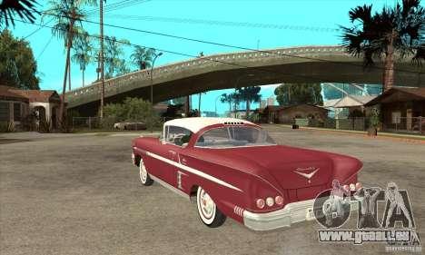 Chevrolet Impala 1958 für GTA San Andreas zurück linke Ansicht