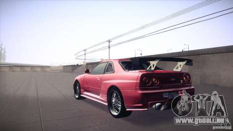 Nissan Skyline R34 für GTA San Andreas zurück linke Ansicht