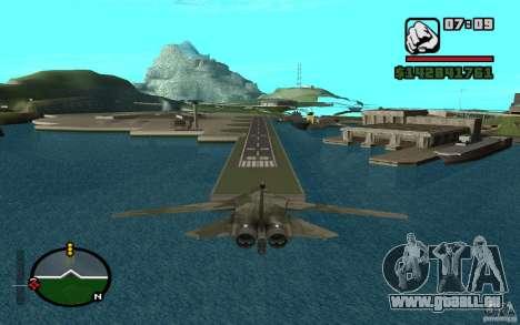 F-111 Aardvark pour GTA San Andreas sur la vue arrière gauche