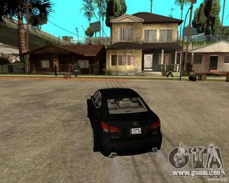 Lexus IS-F v2.0 pour GTA San Andreas sur la vue arrière gauche