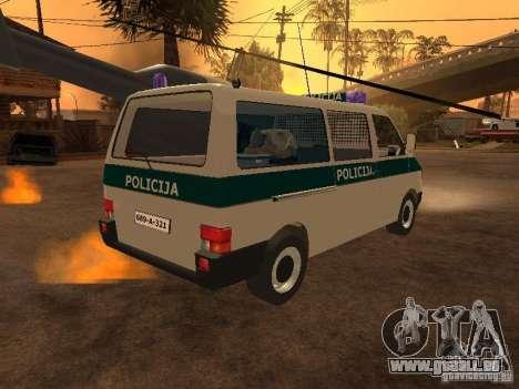 Volkswagen Transporter T4 Bosnian police pour GTA San Andreas sur la vue arrière gauche