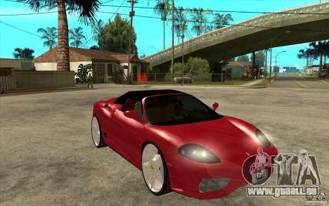 Ferrari 360 Spider für GTA San Andreas Rückansicht