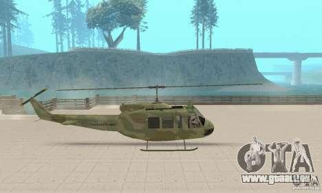 UH-1 Iroquois (Huey) pour GTA San Andreas sur la vue arrière gauche