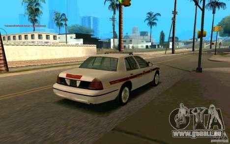 Ford Crown Victoria South Dakota Police pour GTA San Andreas sur la vue arrière gauche