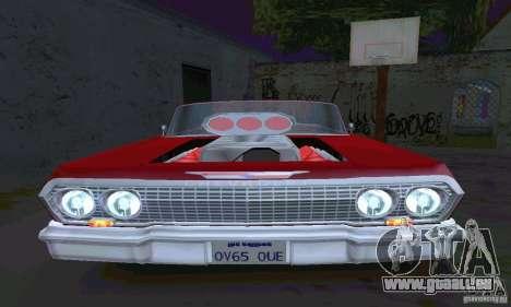 Chevrolet Impala 1963 Lowrider Charged pour GTA San Andreas vue arrière