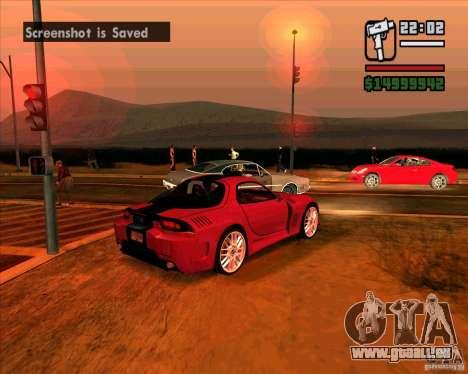 Mazda RX-7 MW pour GTA San Andreas sur la vue arrière gauche