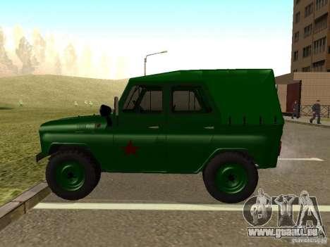UAZ 469 militaire pour GTA San Andreas laissé vue