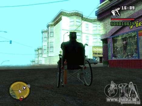 Fauteuil roulant manuel pour GTA San Andreas sur la vue arrière gauche
