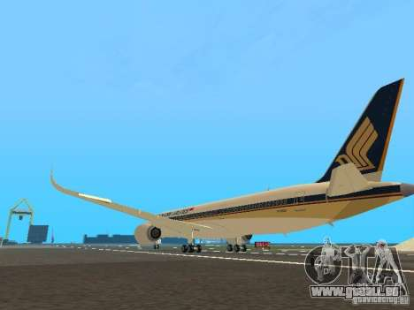 Airbus A350-900 Singapore Airlines für GTA San Andreas zurück linke Ansicht
