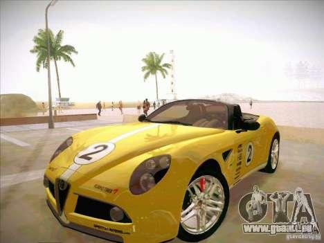 Alfa Romeo 8C Spider für GTA San Andreas obere Ansicht
