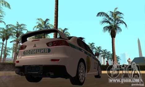 Mitsubishi Lancer Evolution X Polizei von Kasach für GTA San Andreas Rückansicht